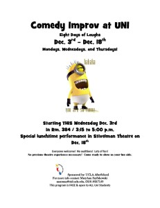 Comedy Improv at Uni coming December 3-18