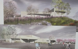 Drawing of the now-under-construction Emerson gymnasium.