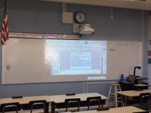 Uni's showcase new classroom, using a 42-inch digital projector.