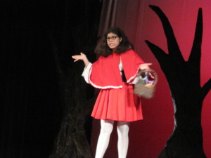Little Red Riding Hood (Sarai Benitez) is a little worried about heading into the woods!