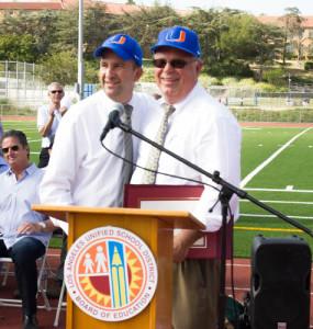 LAUSD Board President Steve Zimmer and Uni Principal Eric Davidson