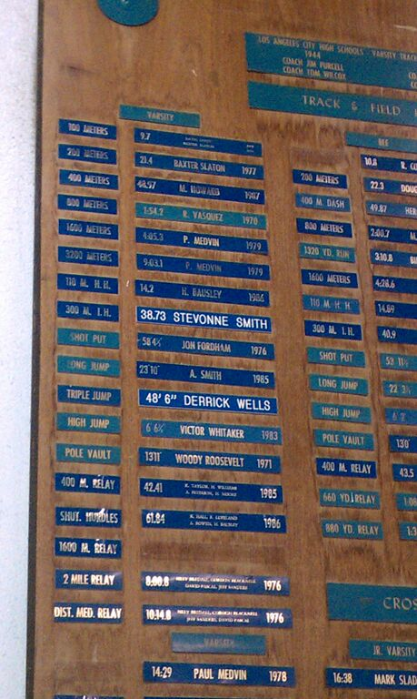 The remains of the Uni track & field record board, trashed c. 2008 (Photo courtesy Kelly Aguda)